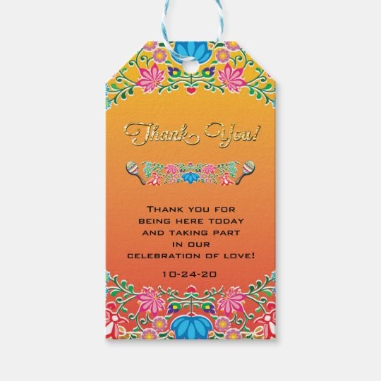Wedding Thank You Gift Tags: Mexican Fiesta Wedding Thank You Favor Gift Tags