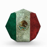 Mexican Flag Aged Steel Effect Acrylic Award