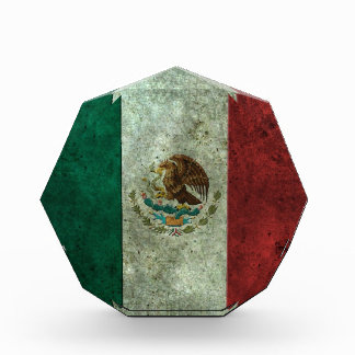 Mexican Flag Aged Steel Effect Acrylic Award