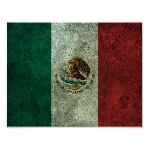 Mexican Flag Aged Steel Effect Poster