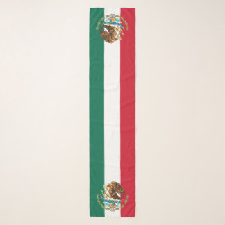 Mexican Flag and Coat of Arms Patriotic Tricolor Scarf