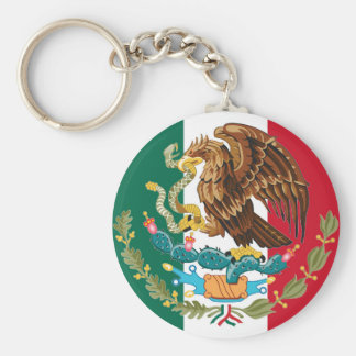 Mexican Flag and Coat of Arms Tricolor Key Chain