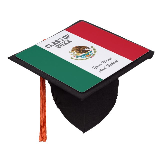 Mexican flag class of school graduation party graduation cap topper