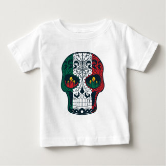 Mexican Flag Colors Day Of The Dead Sugar Skull Baby T-Shirt