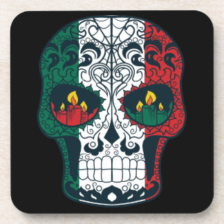 Mexican Flag Colors Day Of The Dead Sugar Skull Beverage Coaster