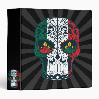 Mexican Flag Colors Day Of The Dead Sugar Skull Vinyl Binders