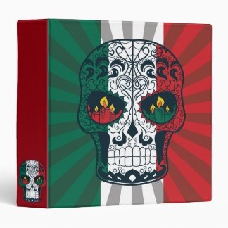 Mexican Flag Colors Day Of The Dead Sugar Skull 3 Ring Binder