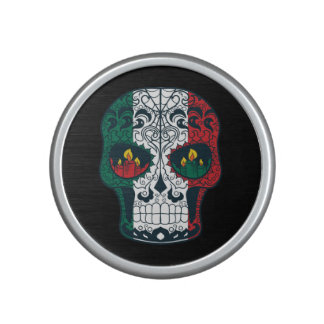 Mexican Flag Colors Day Of The Dead Sugar Skull Bluetooth Speaker