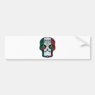 Mexican Flag Colors Day Of The Dead Sugar Skull Bumper Sticker