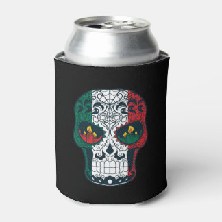 Mexican Flag Colors Day Of The Dead Sugar Skull Can Cooler
