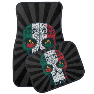 Mexican Flag Colors Day Of The Dead Sugar Skull Car Floor Mat