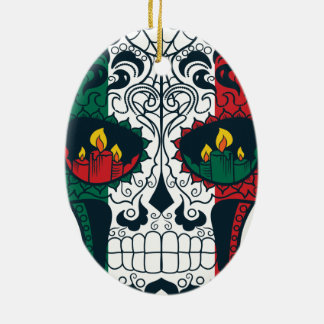 Mexican Flag Colors Day Of The Dead Sugar Skull Ceramic Ornament