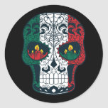 Mexican Flag Colors Day Of The Dead Sugar Skull Classic Round Sticker at Zazzle