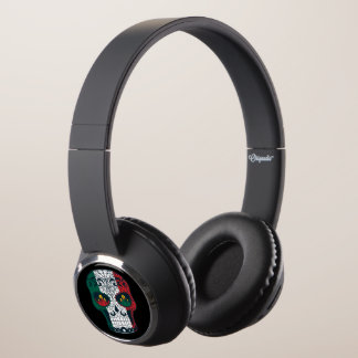 Mexican Flag Colors Day Of The Dead Sugar Skull Headphones