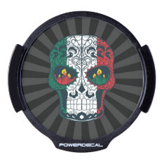 Mexican Flag Colors Day Of The Dead Sugar Skull LED Window Decal at Zazzle