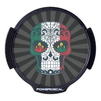 Mexican Flag Colors Day Of The Dead Sugar Skull Led Window Decal by TattooSugarSkulls at Zazzle
