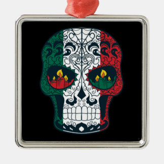 Mexican Flag Colors Day Of The Dead Sugar Skull Metal Ornament