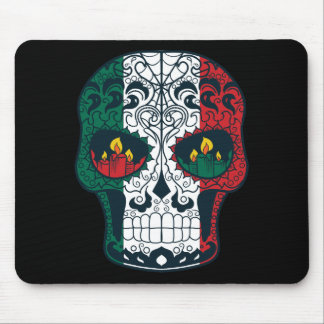 Mexican Flag Colors Day Of The Dead Sugar Skull Mouse Pad