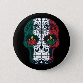Mexican Flag Colors Day Of The Dead Sugar Skull Pinback Button