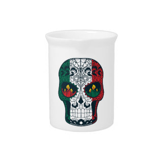 Mexican Flag Colors Day Of The Dead Sugar Skull Pitcher
