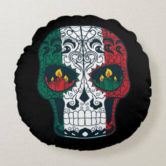 Mexican Flag Colors Day Of The Dead Sugar Skull Round Pillow