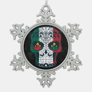 Mexican Flag Colors Day Of The Dead Sugar Skull Snowflake Pewter Christmas Ornament