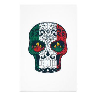Mexican Flag Colors Day Of The Dead Sugar Skull Stationery