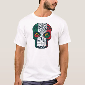 Mexican Flag Colors Day Of The Dead Sugar Skull T-Shirt