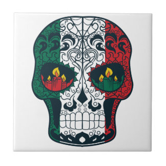 Mexican Flag Colors Day Of The Dead Sugar Skull Tile