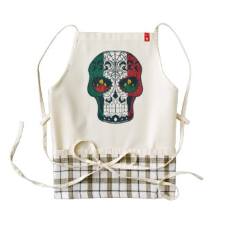 Mexican Flag Colors Day Of The Dead Sugar Skull Zazzle HEART Apron