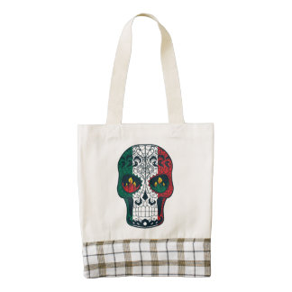 Mexican Flag Colors Day Of The Dead Sugar Skull Zazzle HEART Tote Bag