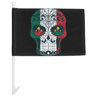 Mexican Flag Colors Day Of The Dead Sugar Skull Car Flag