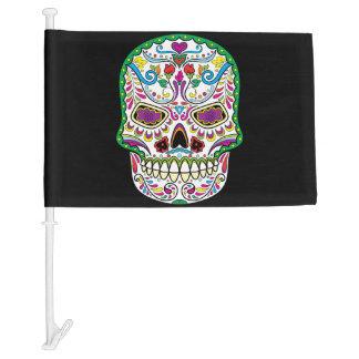 Mexican Flag Colors Green Flowers Sugar Skull Car Flag