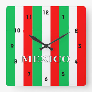Mexican Flag Colors Square Wall Clock