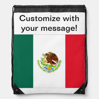 Mexican Flag Drawstring Bag