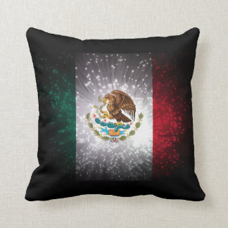 Mexican Flag Firework Throw Pillow