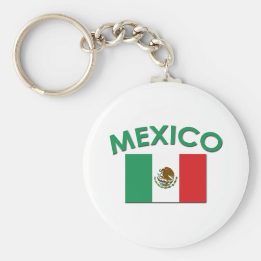 Mexican Flag (Green) Basic Round Button Keychain