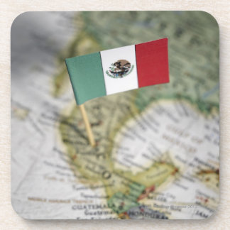 Mexican flag in map coaster