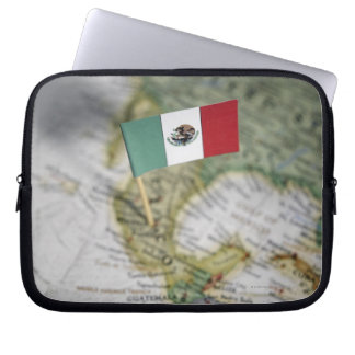 Mexican flag in map computer sleeves