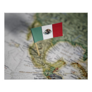 Mexican flag in map poster