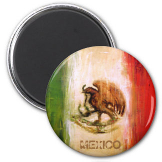 MEXICAN FLAG - MEXICO STYLE 2 INCH ROUND MAGNET