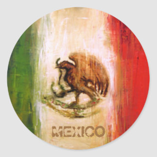 MEXICAN FLAG - MEXICO STYLE CLASSIC ROUND STICKER