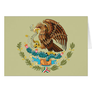 MEXICAN FLAG - MEXICO STYLE - COAT OF ARMS GREETING CARD