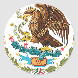 MEXICAN FLAG - MEXICO STYLE - COAT OF ARMS CLASSIC ROUND STICKER