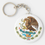 MEXICAN FLAG - MEXICO STYLE - COAT OF ARMS BASIC ROUND BUTTON KEYCHAIN
