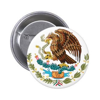 MEXICAN FLAG - MEXICO STYLE - COAT OF ARMS PINBACK BUTTON