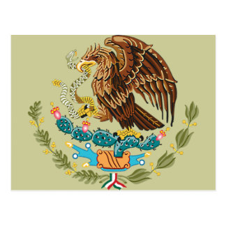 MEXICAN FLAG - MEXICO STYLE - COAT OF ARMS POSTCARD