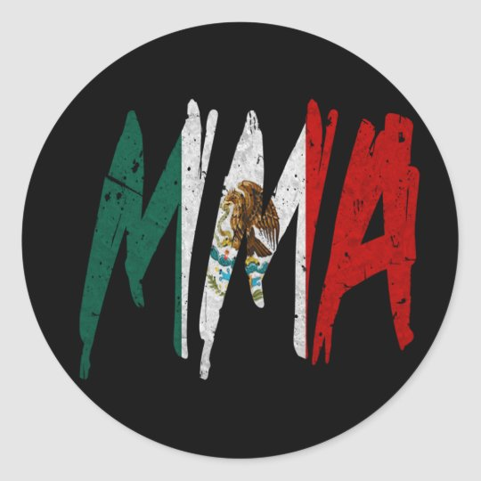 Mexican Flag MMA Classic Round Sticker