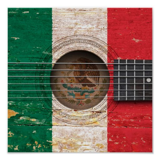 Mexican Flag on Old Acoustic Guitar Print