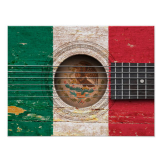 Mexican Flag on Old Acoustic Guitar Poster